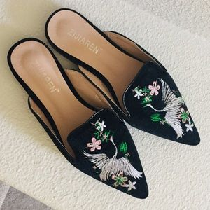 Embroidered Crane Mules 39